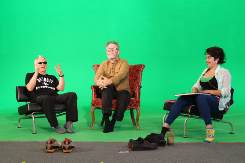 Robbie Conal on the greenscreen